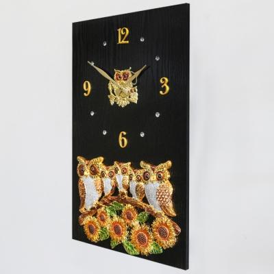 해바라기와 부엉이 대가족 액자 시계 40 60