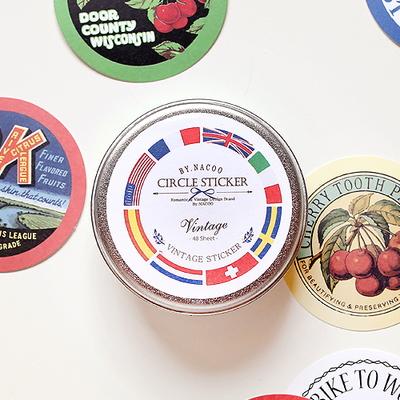 Circle Sticker Tin-Vintage