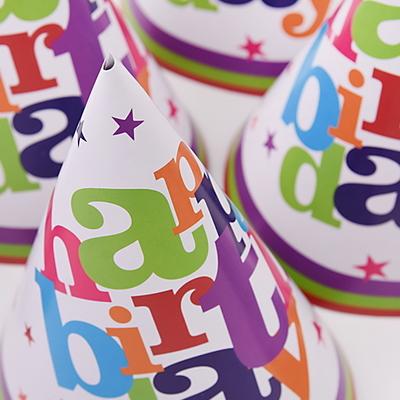 생일파티 고깔모자-6입 (화이트스타)