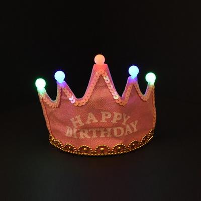 LED 반짝이 생일왕관 [핑크]