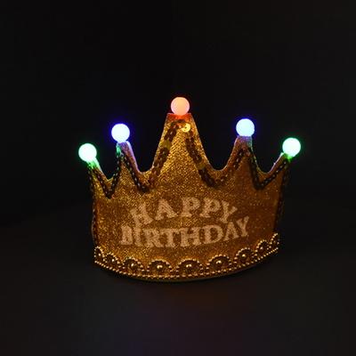 LED 반짝이 생일왕관 [골드]