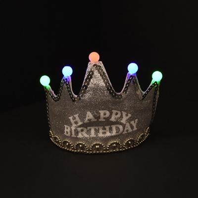LED 반짝이 생일왕관 [실버]