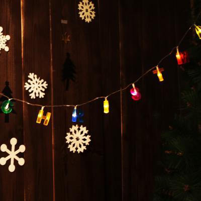 LED 메리크리스마스 알파벳(칼라) 건전지(밧데리) 전구 가랜드 [웜]