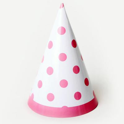 라인도트 고깔모자 - 핑크(6개입)