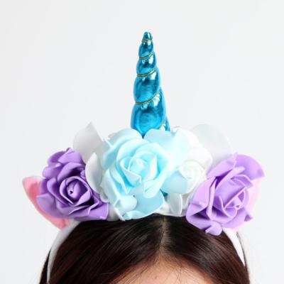 플라워 유니콘 뿔 머리띠 [블루]