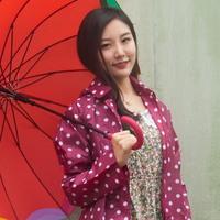 도트 레인코트_와인(파우치포함)
