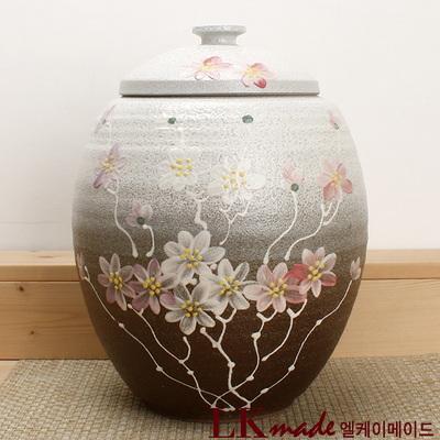 옹기 투톤 국화 쌀항아리 10~12kg+쌀바가지 증정
