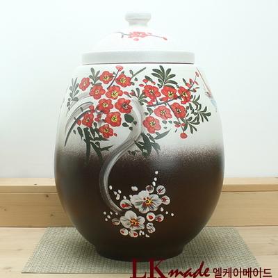 옹기 투톤 눈속 빨간 매화 쌀항아리 25kg+쌀바가지 증정