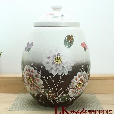 옹기 투톤 만개한 모란꽃 쌀항아리 25kg+쌀바가지 증정