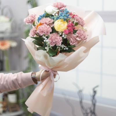 카네이션조화 안개꽃 성묘용 꽃다발 모우브