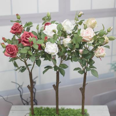 가든 장미꽃조화 인조나무 90cm, 인테리어