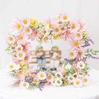 봉안당리스 액자형 가을 들녘 들꽃 핑크, 사각리스 실크플라워 조화꽃 납골당 장식