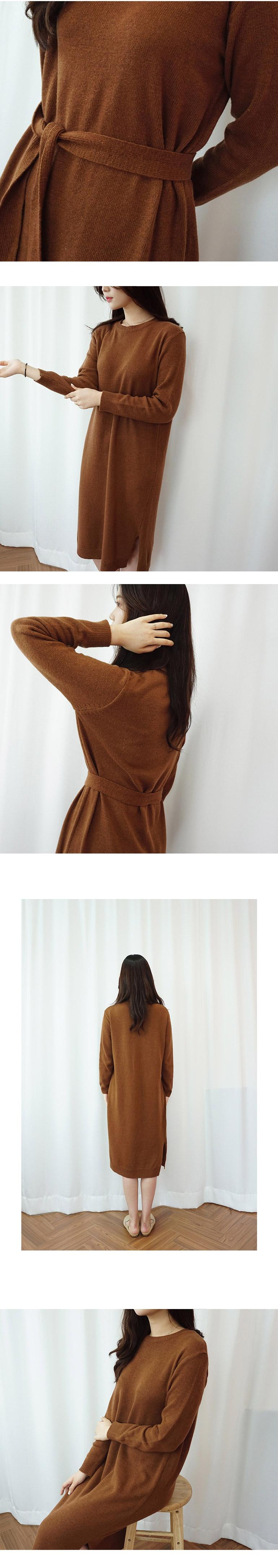데일리로 입기 좋은 니트 벨트 원피스 - 몽글리다, 39,800원, 원피스, 니트원피스