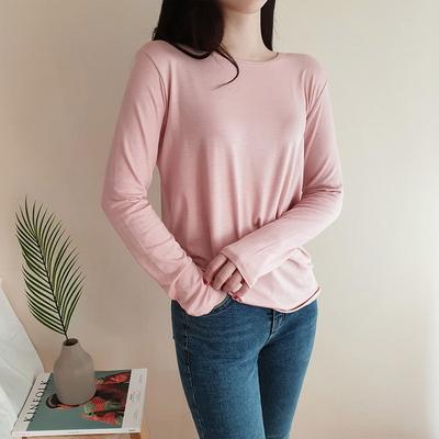 찰랑 긴팔 티셔츠 라운드 봄 여성 국내생산