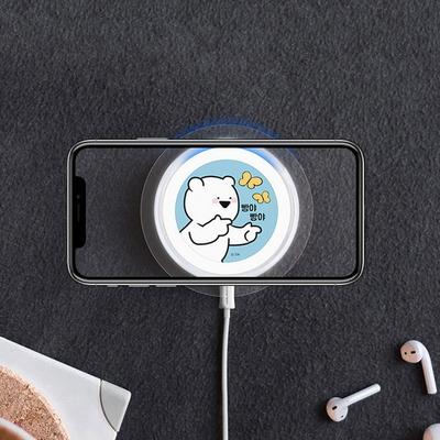오버액션 캐릭터 원형 슬림 무선충전 패드