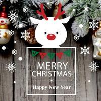 크리스마스 눈꽃 스티커 장식 CMS4J239 루돌프 사슴코의 성탄절