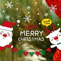 크리스마스 눈꽃 스티커 장식 CMS4J244 환영해요 산타와 루돌프