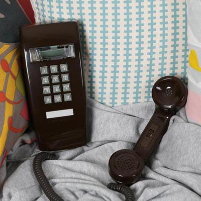 코텔코 Made in USA 빈티지 벽걸이 유선전화기 브라운