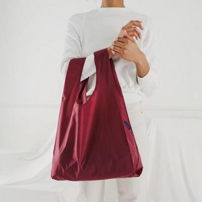 [바쿠백] 휴대용 장바구니 접이식 시장가방 Cranberry
