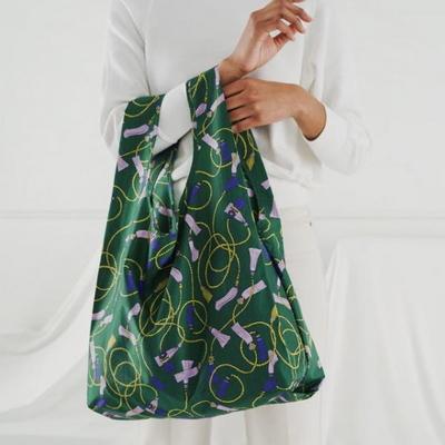 [바쿠백] 휴대용 장바구니 접이식 시장가방 Green Tassel