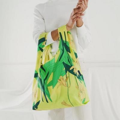 [바쿠백] 휴대용 장바구니 접이식 시장가방 Yellow Lily