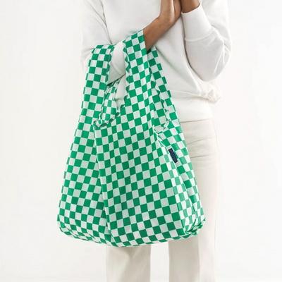 [바쿠백] 휴대용 장바구니 접이식 시장가방 Green Checkerboard