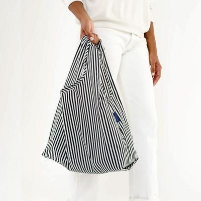 [바쿠백] 휴대용 장바구니 접이식 시장가방 Black and White Stripe