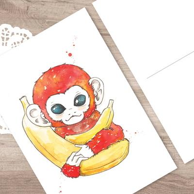 붉은 원숭이 - 일러스트 엽서