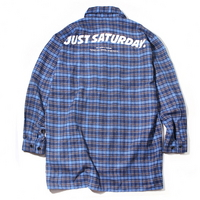 OVER LONG ARCH LOGO CHECK SHIRT BLUE