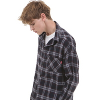 OVERFIT PLAID CHECK SHIRT NAVY