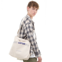 CANVAS LOGO MAIL BAG NATURAL