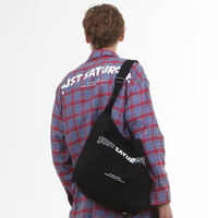 CANVAS LOGO MAIL BAG BLACK