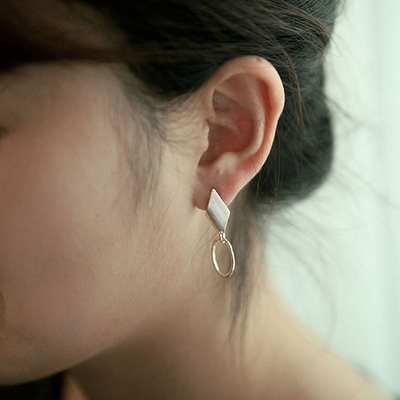 925 silver marquise circle earring