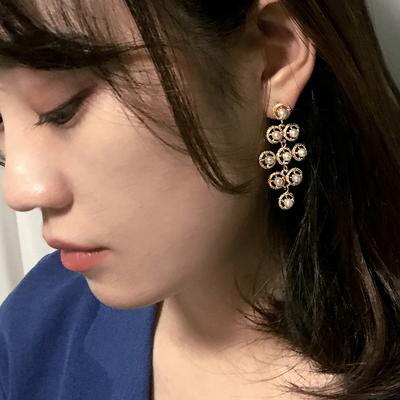 티타늄침 E8655 - 유니크 진주 샹들리에 귀걸이