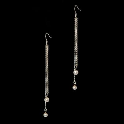 925 silver long drop pearl earring