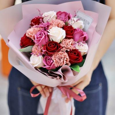 파스텔 장미 졸업식 비누 꽃다발 학예회 드라이플라워