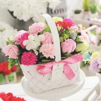 화이트직사각 비누꽃 카네이션 바구니(핑크)