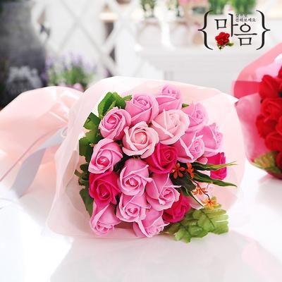 장미 20송이 꽃다발(핑크) 비누꽃 화이트데이 선물
