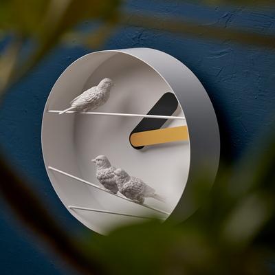 하오스 참새 라운드 벽시계 - 옐로우