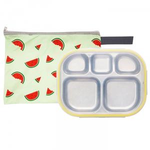 수박젤리 일자형 옐로우 유아식판 뚜껑+파우치 포함