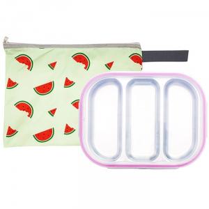 수박젤리 3구 핑크 유아식판 뚜껑+파우치 포함