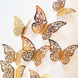 3D 나비 입체포인트 스티커C-gold 12P