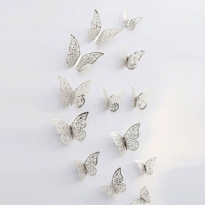 3D 나비 입체포인트 스티커C-silver 12P