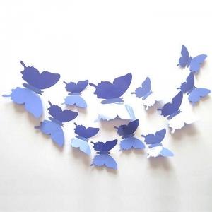 PVC 3D 나비 포인트 스티커 light purple blue 12P