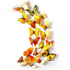 PVC 3D 나비 포인트 스티커 yellow 12P