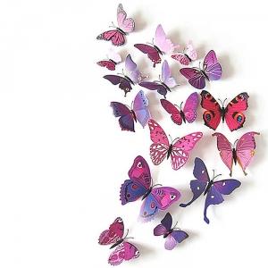 PVC 3D 나비 포인트 스티커 퍼플레드 12P