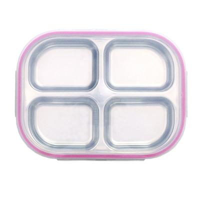 바른식판 나눔4구 핑크 뚜껑 파우치포함 CH1484546