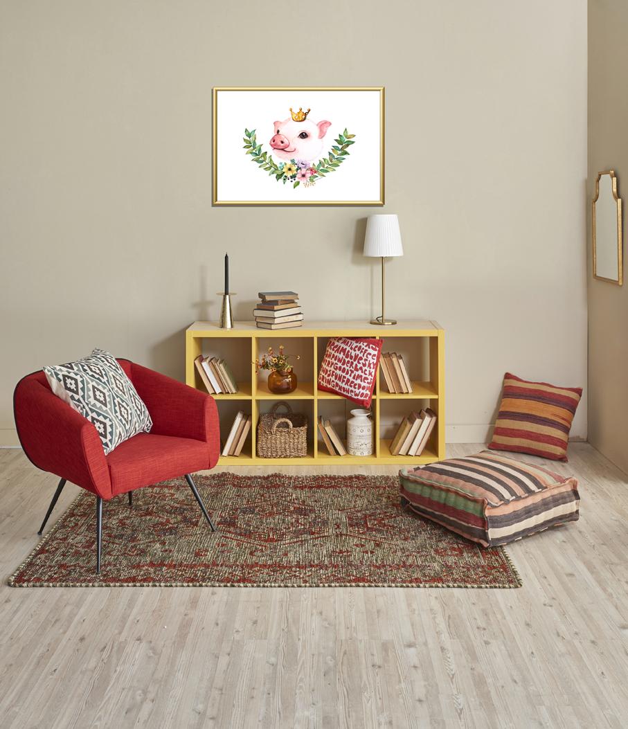황금꽃돼지그림 포스터 돈들어오는그림 액자 포함 - 모모스케치, 77,100원, 홈갤러리, 포스터
