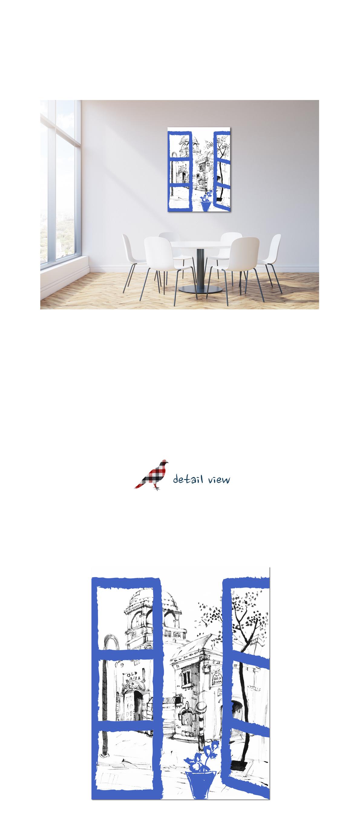 파란문 한국화 일러스트 인테리어 캔버스 그림액자 - 모모스케치, 124,000원, 홈갤러리, 캔버스아트