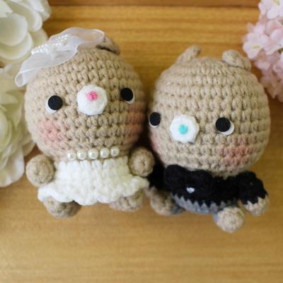손뜨개인형 - 쪼꼬미 토끼웨딩커플 세트